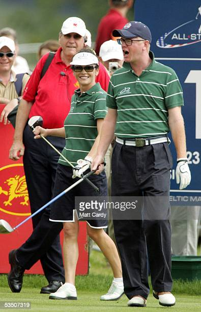 Celebrity golfer Chris Evans and his teammate Catherine ZetaJones on the final day of The AllStar Cup Celebrity Golf tournament at the Celtic Manor...