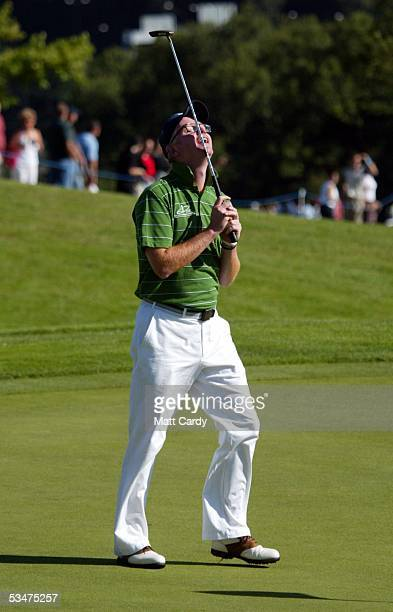 Celebrity golfer Chris Evans at The AllStar Cup Celebrity Golf tournament at the Celtic Manor Resort on August 28 2005 Newport Wales The cup the...