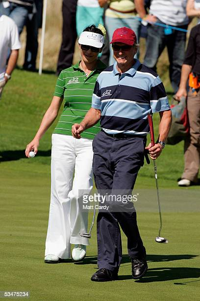 Celebrity golfers Catherine Zeta-Jones and Michael Douglas at The All-Star Cup Celebrity Golf tournament at the Celtic Manor Resort on August 28,...