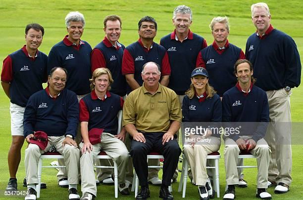 Celebrity golfers Michael Chang Mark Spitz Steve Hytner George Lopez Patrick Duffy Michael Douglas Boomer Esiason Cheech Marin Hayley Osment US team...