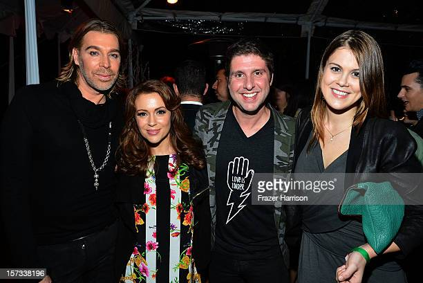 Celebrity Hair Stylist Chaz Dean actress Alyssa Milano Courtney Knowles actress Lindsey Shaw arrive at Chaz Dean's Holiday Party Benefitting the Love...
