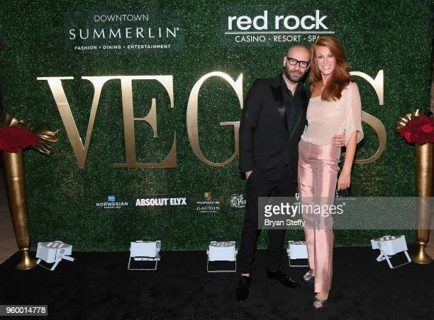 Celebrity hairstylist Claude Baruk and actress/model Angie Everhart attend Vegas Magazine's 15th anniversary party at the Red Rock Casino Resort and...