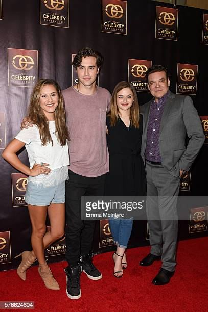 Celebrity host Electra Formosa actor Ryan McCartan actress Joey King and producer George Caceres arrive at 'The Celebrity Experience QA Panel' at...