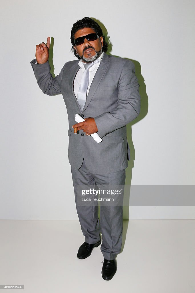 Celebrity impersonator of Diego Maradona attends the Ewa Herzog show during the Mercedes-Benz Fashion Week Berlin Spring/Summer 2016 at Brandenburg Gate on July 10, 2015 in Berlin, Germany.