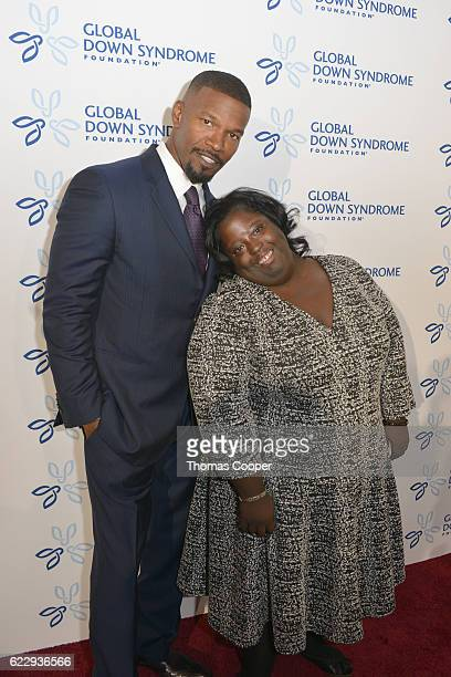 "Celebrity Jamie Foxx with his sister DeOndra Dixon on the red carpet at the at Global Down Syndrome Foundation's 2016 ""Be Beautiful Be Yourself"" at..."