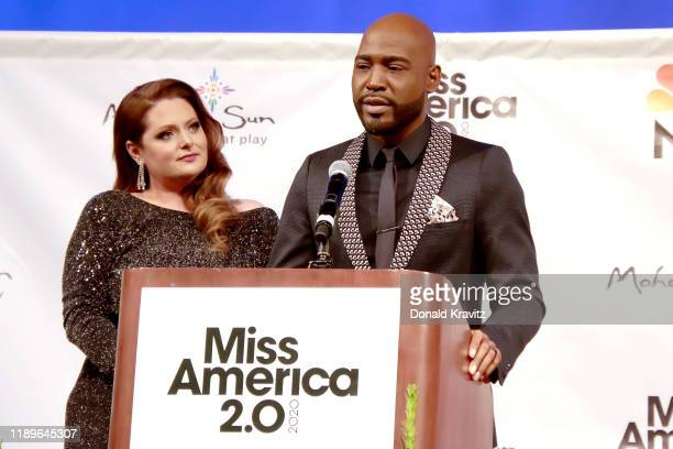 Celebrity judges Lauren Ash and Karamo Brown address the audience at the Miss America 2020 Competition Post Press Conference at Mohegan Sun on...