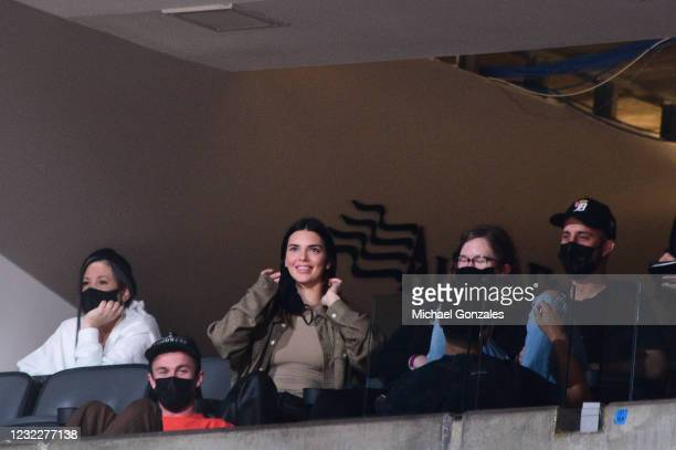 Celebrity Kendall Jenner, attends the game between the Houston Rockets and the Phoenix Suns on April 12, 2021 at Phoenix Suns Arena in Phoenix,...