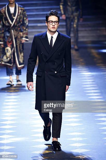 Celebrity Levi Dylan walks the runway at the Dolce Gabbana show during Milan Men's Fashion Week Fall/Winter 2017/18 on January 14 2017 in Milan Italy