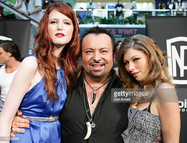 Celebrity makeup artist and star of Australia's next top model Napoleon Perdis with models Alice Burdeau and Jordan Loukas pose during his visit to...