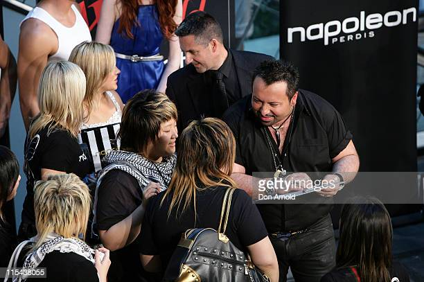 Celebrity makeup artist and star of Australia's next top model Napoleon Perdis chats with fans at Parramatta Westfields store on October 27 2007 in...