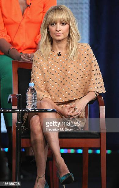 Celebrity Mentor Nicole Richie speaks onstage during the Fashion Star panel during the NBCUniversal portion of the 2012 Winter TCA Tour at The...