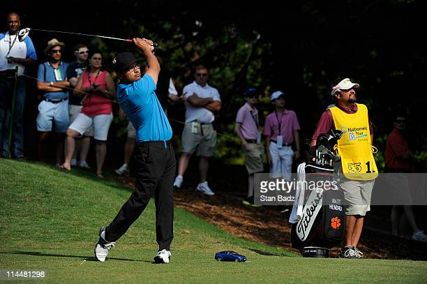 Celebrity Michael Pena hits from the first tee box during the third round of the BMW Charity ProAm presented by SYNNEX Corporation at the Thornblade...