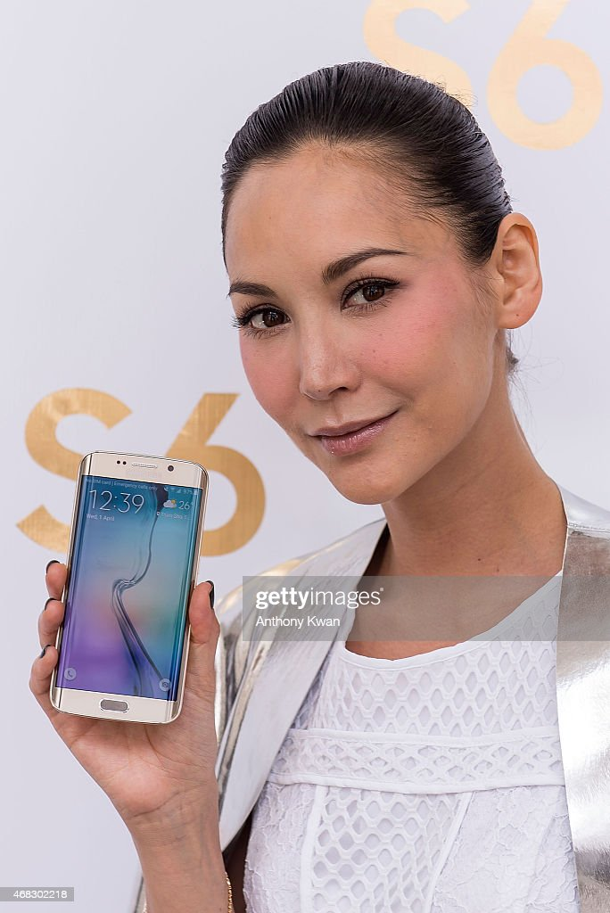 Celebrity model Amanda S. at the Samsung new products press conference at Hullett House in Tsim Sha Tsui District on April 1, 2015 in Hong Kong. Samsung held a press conference to introduce their new products Galaxy S6 and Galaxy S6 edge in Hong Kong, which they descirbe as the most advanced mobiles on the market. They will be available on April 10.