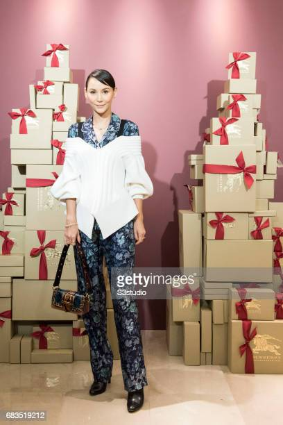 Celebrity Model and TV Personality Amanda Strang poses for a photograph on the red carpet at the Burberry Pacific Place event on 03 November 2016 in...