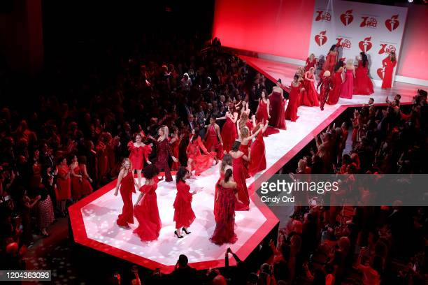 Celebrity models walk the runway during the finale of the American Heart Association's Go Red for Women Red Dress Collection 2020 at Hammerstein...