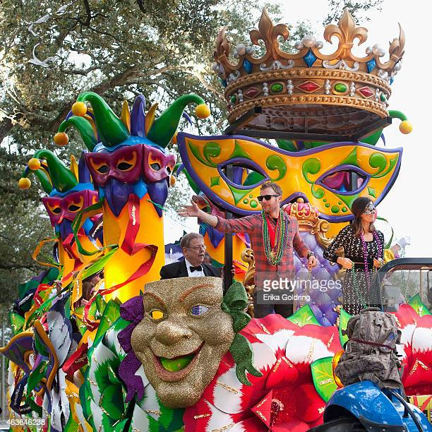 Celebrity Monarch Dierks Bentley and his wife Cassidy Black ride in the 2015 Krewe of Orpheus Parade on February 16 2015 in New Orleans Louisiana