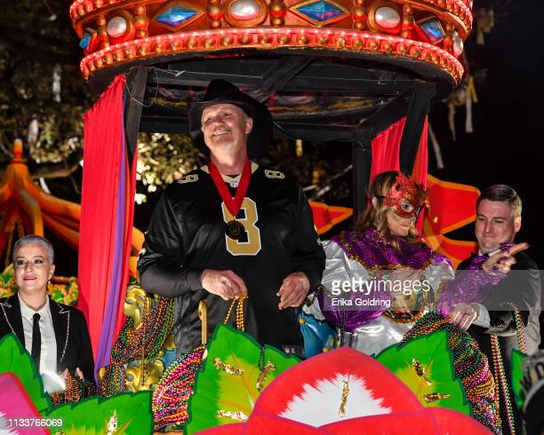 Celebrity monarch Trace Adkins rides in The 2019 Krewe of Orpheus parade on March 4, 2019 in New Orleans, Louisiana.