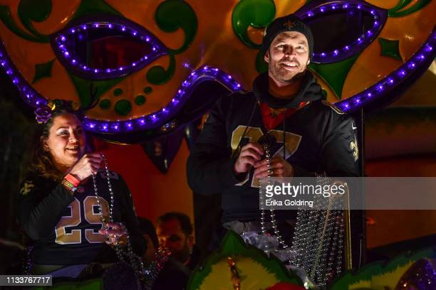 Celebrity monarchs Jill Goodacre Connick and Harry Connick Jr. Ride in The 2019 Krewe of Orpheus parade on March 4, 2019 in New Orleans, Louisiana.