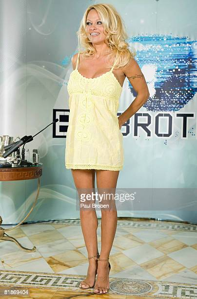 Celebrity Pamela Anderson attends a press conference ahead of her appearance on Channel Ten's reality TV show 'Big Brother' at the Palazzo Versace on...