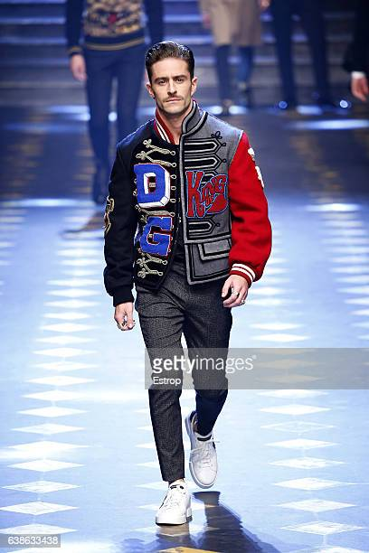 Celebrity Pelayo Díaz walks the runway at the Dolce Gabbana show during Milan Men's Fashion Week Fall/Winter 2017/18 on January 14 2017 in Milan Italy