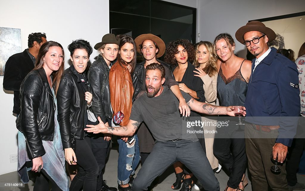 Celebrity photographer Brian Bowen Smith, Tiffanie Byron, Arden Fisher, Emily Armstrong, Kate Harrison, Anda Gentile, Ivy Lauren, Nathalie Reznik, Shea Bowen Smith and Christian Marc attend the 'Blue Nudes' exhibition at De Re Gallery on May 28, 2015 in West Hollywood, California.