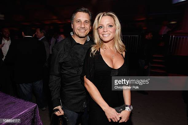 Celebrity photographer Kevin Mazur and wife Jennifer Mazur attend DIRECTV and Mark Cuban's HDNet Super Bowl Party at Victory Park on February 5 2011...