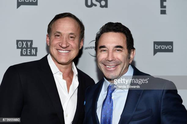 Celebrity plastic surgeons Dr Terry Dubrow and Dr Paul Nassif arrive at NBCUniversal's Press Junket at Beauty Essex on November 13 2017 in Los...