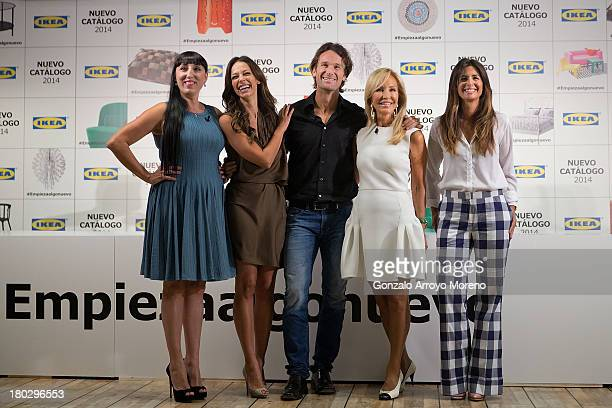 Celebrity Rossy de Palma model Eva Gonzalez extennis player Carlos Moya celebrity Carmen Lomana and tv anchorwoman Nuria Roca pose for the media at...