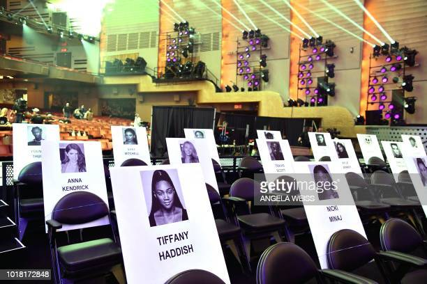 Celebrity seat cards are seen during the 2018 MTV Video Music Awards press junket at Radio City Music Hall in New York on August 17 2018 The 2018...