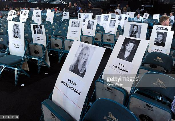 Celebrity seat place cards are displayed during rehearsals for the 46th Annual Academy Of Country Music Awards held at the MGM Grand Garden Arena on...