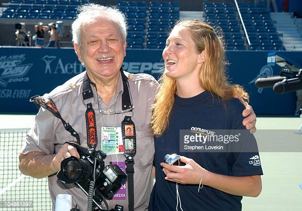 Celebrity Shutterbug Ron Galella and Maggie Rizer during 2003 US Open Arthur Ashe Kids Day at Arthur Ashe Tennis Center in New York City New York...