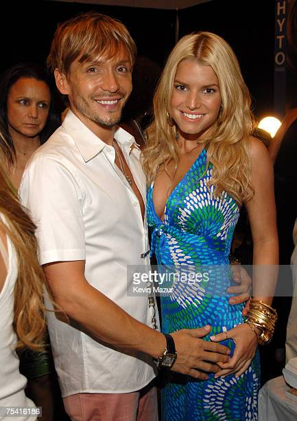 Celebrity Stylist Ken Paves and Musician/Designer Jessica Simpson backstage before her Swim Show at the Raleigh Hotel on July 14, 2007 in Miami...