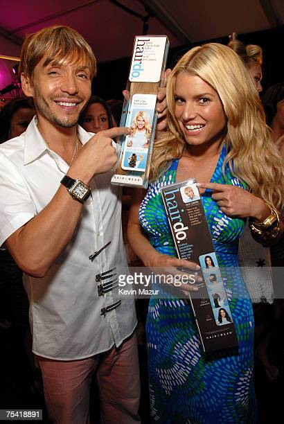 Celebrity Stylist Ken Paves and Musician/Designer Jessica Simpson backstage before her Swimwear Show at the Raleigh Hotel on July 14, 2007 in Miami...