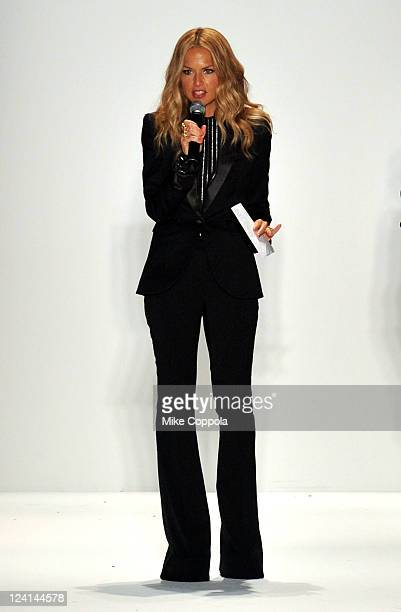 Celebrity stylist Rachel Zoe speaks at the Supima Spring 2012 fashion show during MercedesBenz Fashion Week at The Studio at Lincoln Center on...
