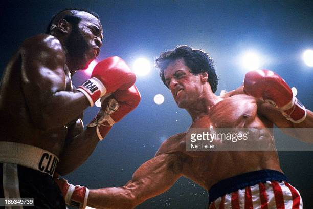 Sylvester Stallone as Rocky Balboa and Mr T on the boxing set of 'Rocky III' movie Los Angeles CA CREDIT Neil Leifer