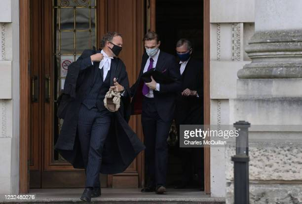 Celebrity television presenter Doctor Cristian Jessen leaves the High Court on April 23, 2021 in Belfast, Northern Ireland. Doctor Jessen, who...