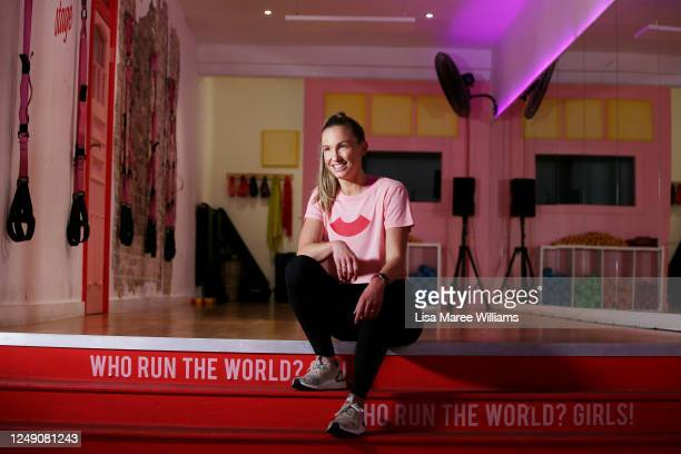 Celebrity trainer Libby Babet poses at her Bondi training studio 'The Upbeat' as she prepares to reopen to the public on June 12, 2020 in Sydney,...