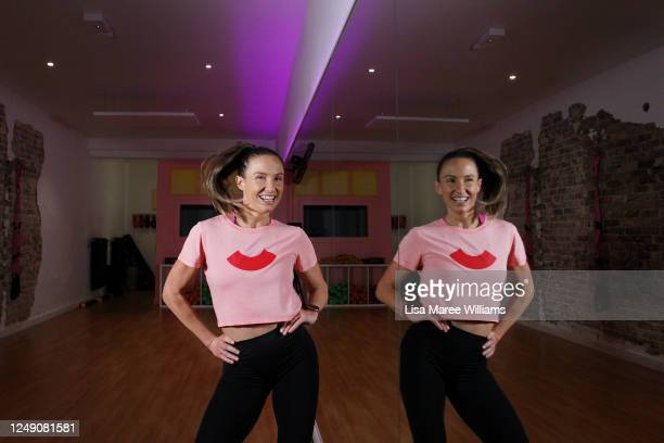 Celebrity trainer Libby Babet works through a fitness routine as she prepares to reopen her Bondi training studio 'The Upbeat' to the public on June...