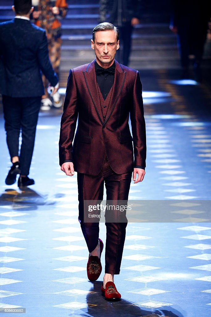 Celebrity Vadim Galaganov walks the runway at the Dolce & Gabbana show during Milan Men's Fashion Week Fall/Winter 2017/18 on January 14, 2017 in Milan, Italy.