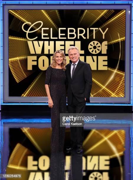 Celebrity Wheel of Fortune stars Vanna White and Pat Sajak. VANNA WHITE, PAT SAJAK