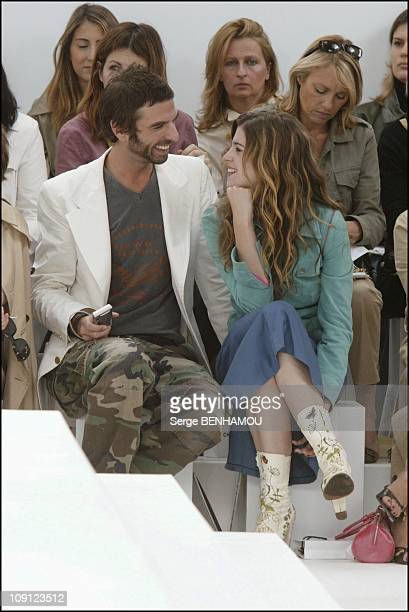 Celebs At The Chanel Haute Couture Fall Winter 2004/2005 Fashion Show On July 7 2004 In Paris France Cecile Cassel And Friend John Nollet