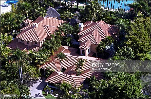 Celebs' mansions in Miami United States on February 09 2001 Gloria Estefan's huge house with ocre rooftops highly protected from spying eyes thanks...