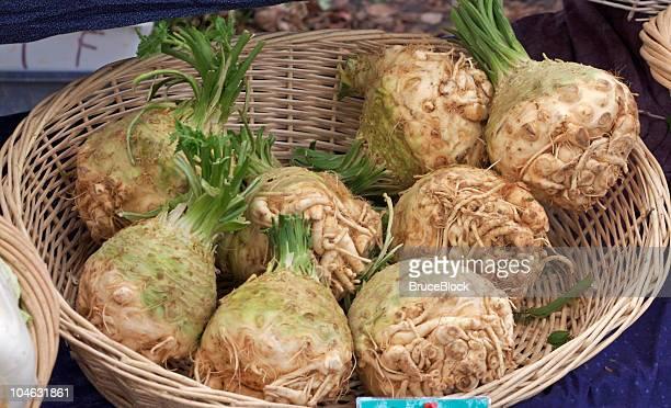 celeriac at the farmer's market - celeriac stock photos and pictures