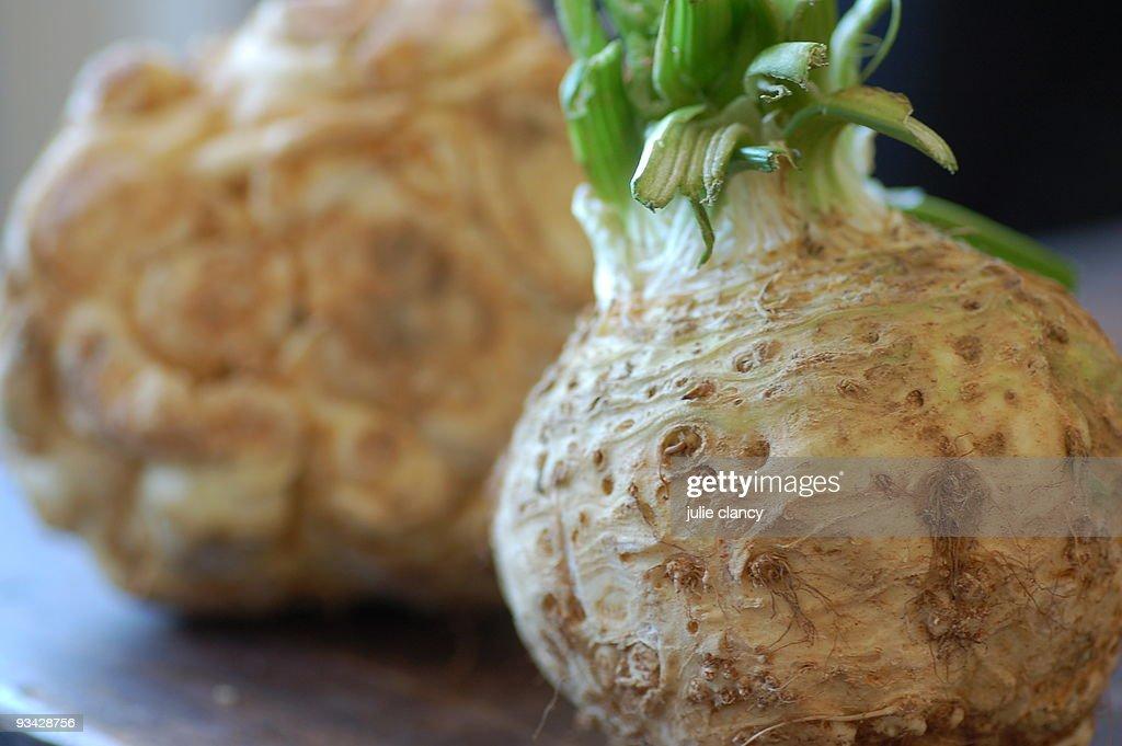 Celeriac closeup (celery root) : Stock Photo