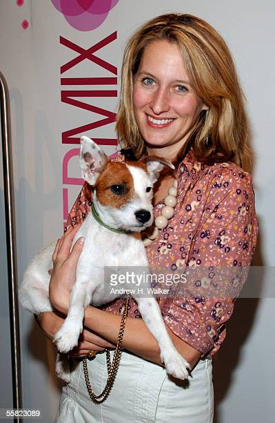 Celerie Kemble and her dog Anchovy attend the opening of the Intermix flagship store in SoHo September 28 2005 in New York City