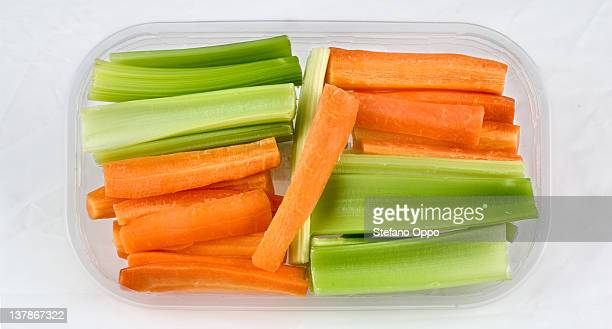 Celery and carrots sliced