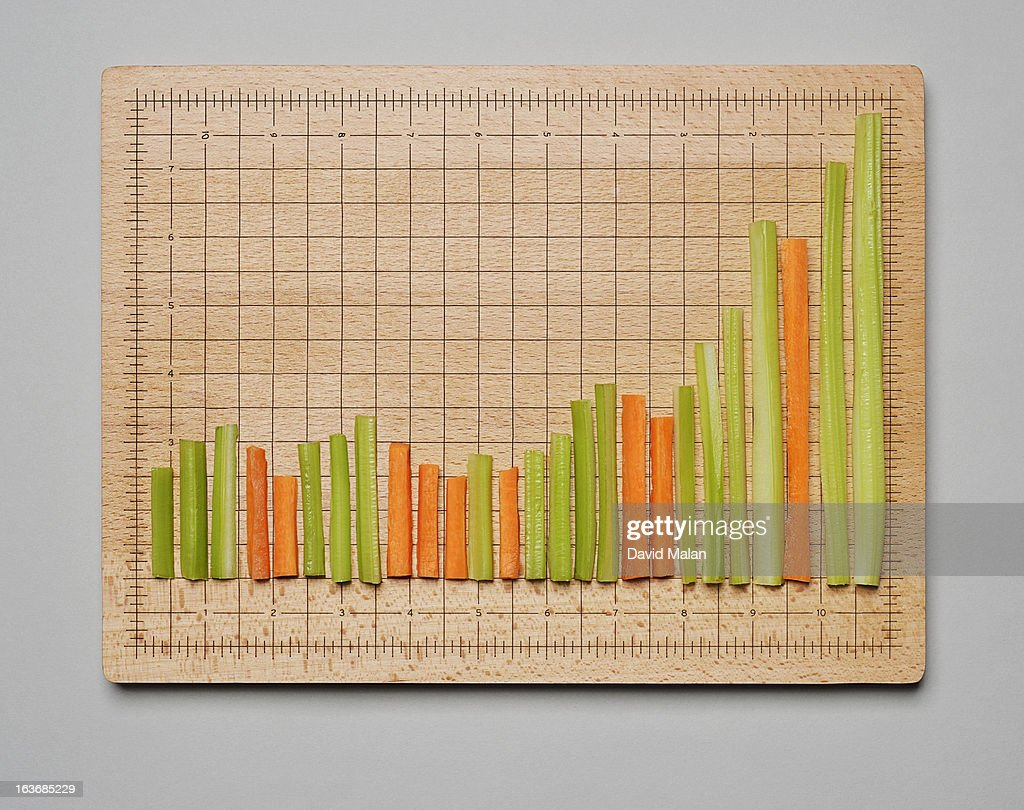 Celery & carrot sticks forming a graph : Stock Photo
