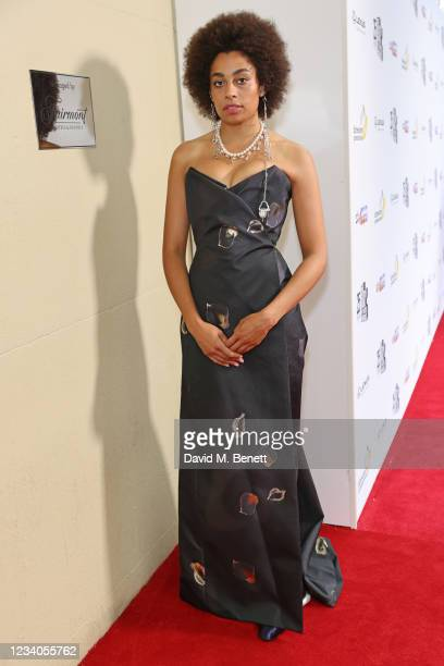 Celeste arrives at the South Bank Sky Arts awards at The Savoy Hotel on July 19, 2021 in London, England. The South Bank Sky Arts Awards will air on...