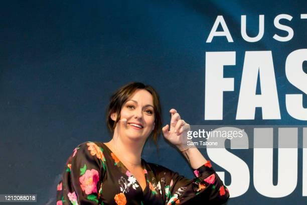 Celeste Barber attends the Australian Fashion Summit during Melbourne Fashion Festival on March 13 2020 in Melbourne Australia