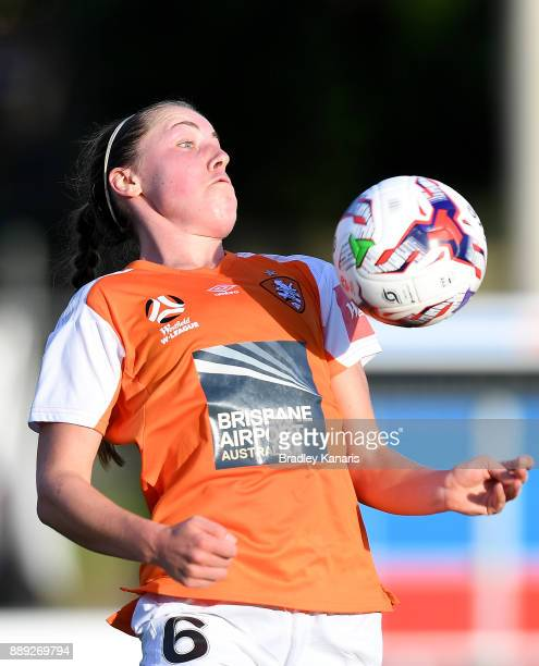 Celeste Boureille of the Roar in action during the round seven WLeague match between the Brisbane Roar and the Newcastle jets at AJ Kelly Reserve on...